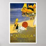 Vintage Cattolica Italian Travel Print