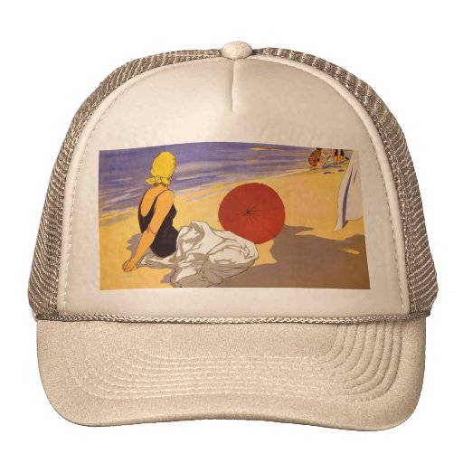 Vintage Cattolica Travel Poster Mesh Hats