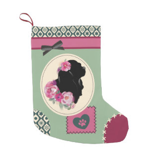 Vintage Cavalier Christmas Stocking pink green