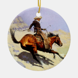 Vintage Cavalry Military, The Cowboy by Remington Christmas Ornament