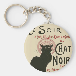 Vintage Ce Soir Le Chat Noir Poster Basic Round Button Key Ring