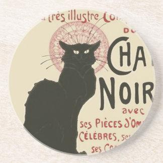 Vintage Ce Soir Le Chat Noir Poster Beverage Coaster