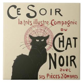Vintage Ce Soir Le Chat Noir Poster Large Square Tile