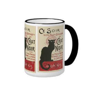 Vintage Ce Soir Le Chat Noir Poster Ringer Mug