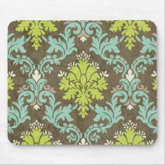 Vintage Celadon and Aqua Damask Mouse Mat