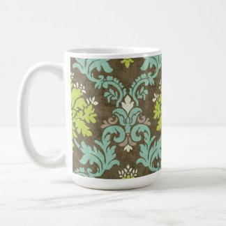 Vintage Celadon and Aqua Damask Coffee Mugs
