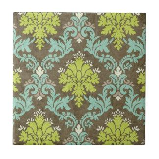 Vintage Celadon and Aqua Damask Tile