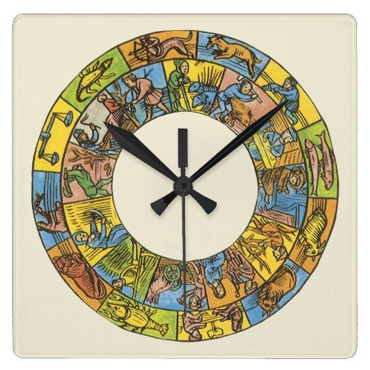 Vintage Celestial, Astrological Zodiac Wheel Square Wall Clock