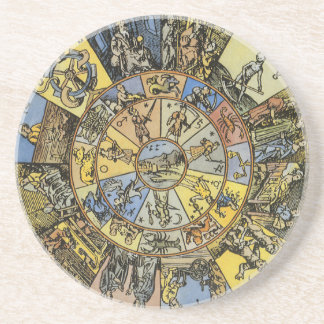 Vintage Celestial Astrology, Zodiac Wheel, 1555 Drink Coasters