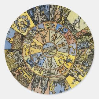 Vintage Celestial Astrology, Zodiac Wheel, 1555 Round Sticker