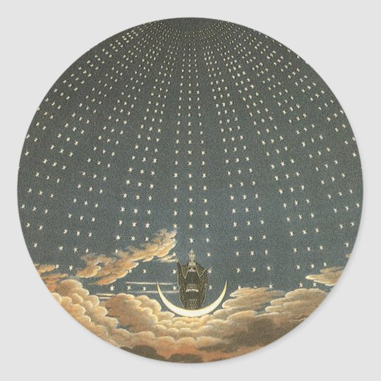 Vintage Celestial Astronomy, Queen of the Night Classic Round Sticker