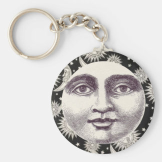 Vintage Celestial Black and White Moon Key Ring
