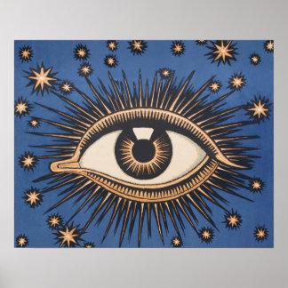 Vintage Celestial Eye Stars Moon Poster