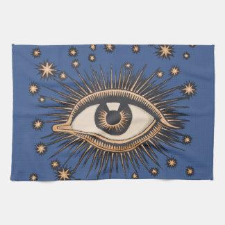 Vintage Celestial Eye Stars Moon Tea Towel