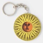 Vintage Celestial Yellow Smiling Happy Hippie Sun Basic Round Button Key Ring