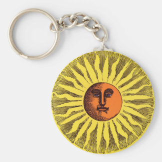Vintage Celestial Yellow Smiling Happy Hippie Sun Basic Round Button Key Ring