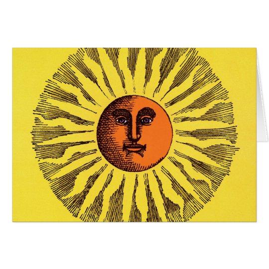 Vintage Celestial Yellow Smiling Happy Hippie Sun Card