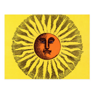 Vintage Celestial Yellow Smiling Happy Hippie Sun Postcard