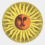 Vintage Celestial Yellow Smiling Happy Hippie Sun Round Sticker