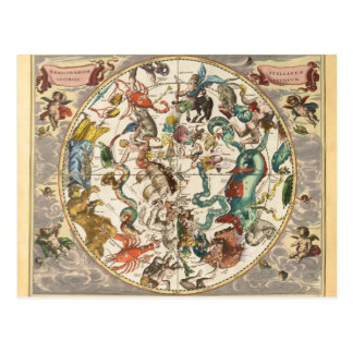 Vintage Celestial Zodiac Star Constellation Map Postcard
