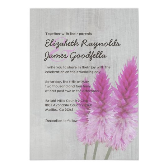 Vintage Celosia Wedding Invitations