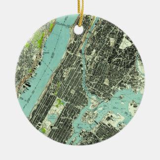 Vintage Central Park & Bronx NY Map (1947) Christmas Ornament