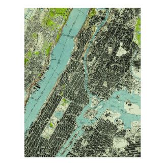 Vintage Central Park & Bronx NY Map (1947) Poster
