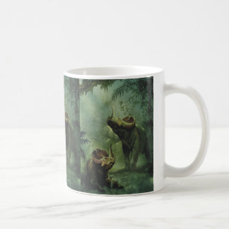 Vintage Centrosaurus Dinosaur in the Jungle Basic White Mug