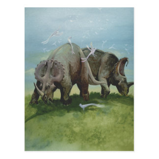 Vintage Centrosaurus Dinosaurs in the Meadow Postcard