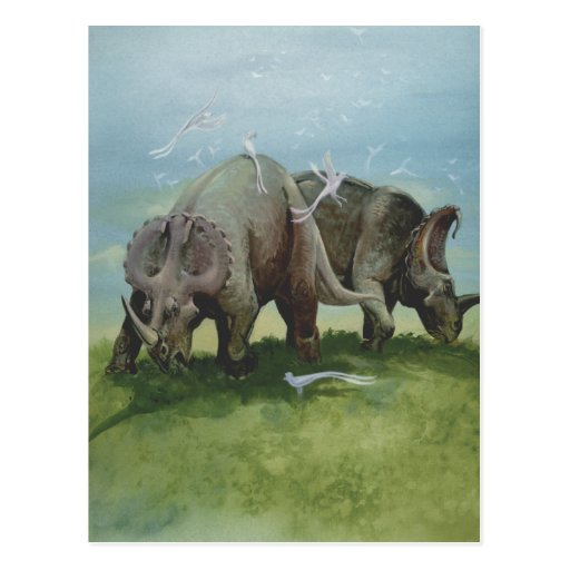 Vintage Centrosaurus Dinosaurs in the Meadow Post Cards