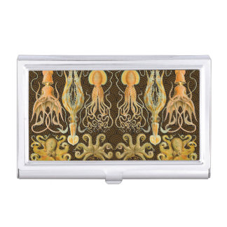 Vintage Cephalopods Squid Octopus Business Card Holder