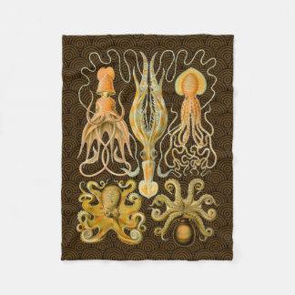 Vintage Cephalopods Squid Octopus Fleece Blanket