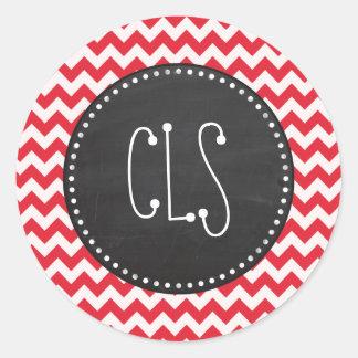 Vintage Chalk Alizarin Crimson Chevron; zig zag Classic Round Sticker
