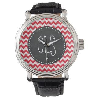 Vintage Chalk Alizarin Crimson Chevron; zig zag Watch