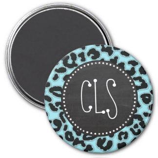 Vintage Chalk Blizzard Blue Leopard Animal Print Fridge Magnets