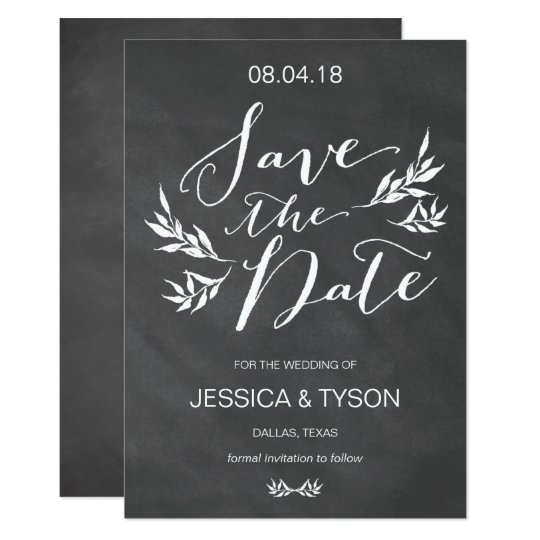 Vintage Chalk Floral Save the Date Card