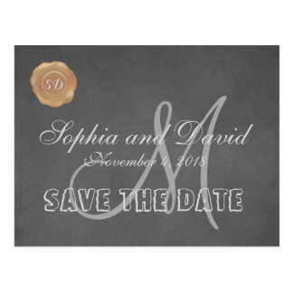 Vintage Chalk Old Wax Seal Wedding SAVE THE DATE Postcard