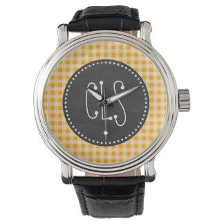 Vintage Chalkboard Amber Orange Gingham; Checkered Wristwatch