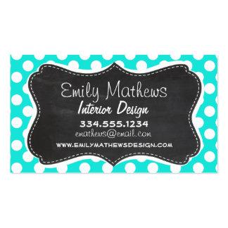 Vintage Chalkboard Aqua Color Polka Dots Business Card