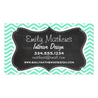 Vintage Chalkboard; Aquamarine Chevron; zig zag Business Card Templates