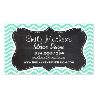 Vintage Chalkboard; Aquamarine Chevron; zig zag Pack Of Standard Business Cards