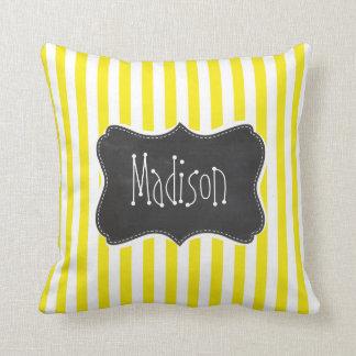Vintage Chalkboard Aureolin Yellow Stripes Throw Pillows