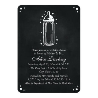 Vintage Chalkboard Baby Bottle Baby Shower 13 Cm X 18 Cm Invitation Card