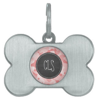 Vintage Chalkboard Baby Pink Camo; Camouflage Pet ID Tag