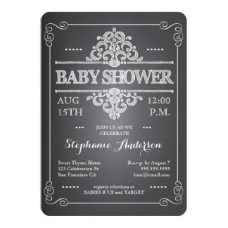 Vintage Chalkboard Baby Shower Neutral Invitation