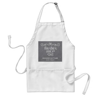 Vintage chalkboard barber shop white swirls standard apron