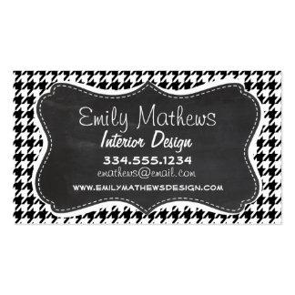 Vintage Chalkboard Black Houndstooth Pack Of Standard Business Cards
