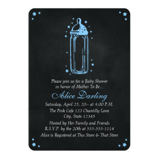 Vintage Chalkboard Blue Baby Bottle Baby Shower 13 Cm X 18 Cm Invitation Card