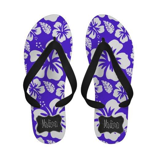 Vintage Chalkboard; Blue Violet Tropical Hibiscus Sandals