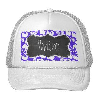 Vintage Chalkboard; Blue Violet Tropical Hibiscus Mesh Hat